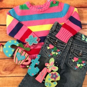 🆕 Colorful Sweater and Jeans outfit size 12m